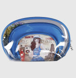 La beauté de PVC de promotion a estampé le sac cosmétique clair personnalisé par jeu de sac de course de renivellement