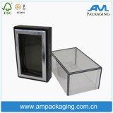 Quadrato basso del cartone due parti del regalo che impacca il contenitore di vigilanza libero con la finestra di visualizzazione
