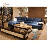 جلدية غرفة المعيشة الأزرق الحديثة أريكة مع ركن (1623A)