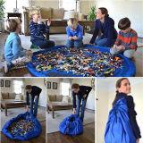 Sacchetto veloce di memoria del Drawstring di corsa del sacchetto dell'organizzatore dei giocattoli della stuoia del gioco di bambini del bambino del poliestere per pulizia facile
