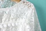 Camisa longa das mulheres do laço da luva da forma 100%Cotton
