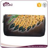 De lange Portefeuille van de Ritssluiting voor Vrouwen, de Echte Leer In reliëf gemaakte Portefeuille Van uitstekende kwaliteit