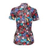 I fiori di Muticolor hanno punteggiato respirabile esterno di riciclaggio di sport del pullover delle donne di riciclaggio delle camice del breve manicotto messi un colletto