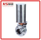 Válvula de borboleta pneumática automática sanitária em aço inoxidável