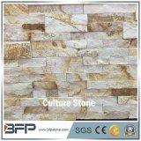 Pietra di pietra naturale della coltura della sporgenza dell'impiallacciatura della vena gialla per il rivestimento della parete e la parete descritta