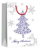 Fiocco di neve stampato con il sacco di carta di disegno su ordinazione di festa dei commerci all'ingrosso del Hangtag