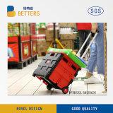 容易な容器を折る2つの車輪は携帯用ショッピングトロリー運び、