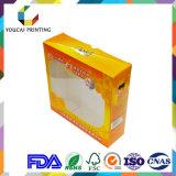 Cadre de empaquetage cosmétique d'impression de couleur du papier d'art d'OEM 400g d'usine 4 avec la configuration chaude de clinquant de guichet d'acétate