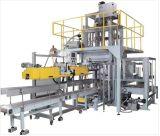 Mandel schaukelt Verpackungsmaschine mit Förderanlage und Nähmaschine