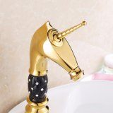 Flg Gold Painting Bath Basin Faucet with Ceramic Crystal Body
