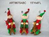 """10 """" Hx6.5 """" L decorazione Santa di natale del rullo di oscillazione, pupazzo di neve ed elfo, 3 Asst"""