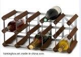 Classial 포도주 전시를 위한 직류 전기를 통한 강철을%s 가진 나무로 되는 포도주 선반
