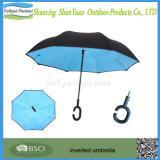 Windproof обратный складывая зонтик Sun двойного слоя с C-Форменный перевернутым ручкой Fullsun-Парасолем зонтика