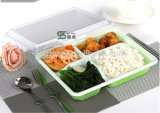 High-grade 1500ml 4 Compartimento Green Rectangle descartável Japanese Lunch Box
