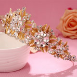 Luxo Gold Leaf Sparking Crystal Wedding Tiara Crown