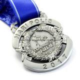2017 medalla de plata de encargo del deporte del paseo del metal 3D con la cinta