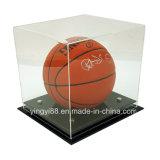 Изготовленный на заказ ясный акриловый витринный шкаф баскетбола с черным основанием