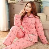 卸し売り女性パジャマの綿の冬3のより厚い綿の冬の綿によってパッドを入れられるジャケットの折りえりのホーム供給のスーツ