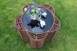 Meubles extérieurs de jardin de villa de rotin brut de 3 PCS