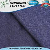 Tissu simple de Knit du Jersey teint par filé à extrémité élevé d'indigo