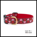 Collar de perro de animal doméstico del modelo del corazón para los perros grandes adicionales con el anillo en D del oro