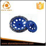 Rotella concreta della tazza del diamante del disco di molatura di doppia riga per elaborare del pavimento