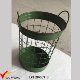 Green Paint Metal Iron Storage Cesta de arame artesanal