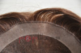 Hairpiece cheio da beira do plutônio da base do laço da cor de Brown do cabelo humano