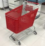 120L Supermarket Rolling Shopping Plastic Basket Wheels Trolley Carts