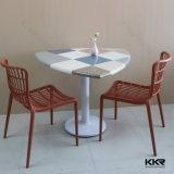 白い大理石のアクリルの固体表面のレストランの表および椅子