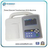 Tres canales de la pantalla táctil de ECG / EKG Máquina