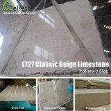 標準的なベージュ石灰岩の平板かタイルまたはモザイクまたはステップまたは階段またはきのこまたは舗装するか、またはプールの捕える石