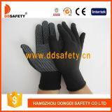 Nylon связанный хлопком PVC перчаток ставит точки Dkp428
