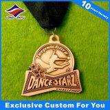Medalha personalizada concessões do cobre da antiguidade da medalha do metal da medalha da dança para o campeão