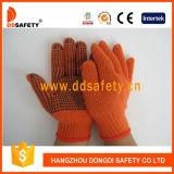 Ddsafety 2017 Orange Baumwolle gestrickter schwarzer PUNKT Handschuh