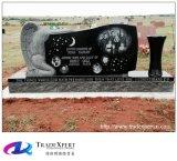Наградной черный памятник гранита с изготовленный на заказ ангелом руки вазы гранита ваяемый