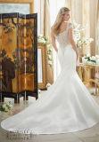 Perlar-Neckline do cetim 0082 fora do vestido de casamento do trem da capela da sereia do ombro