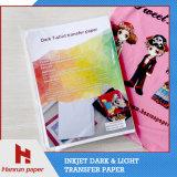 Papier de coton foncé de transfert de T-shirt de jet d'encre pour le tissu 100% de coton