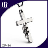 Op485 Blue Engraved Cross Pendant mit 3 Rings
