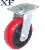 Rueda roja del echador del eslabón giratorio de la PU de 4 pulgadas para el uso industrial