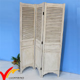 Bianco elegante misero dell'oggetto d'antiquariato dell'annata che piega il divisorio dello schermo di legno solido