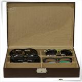 Caixa de couro dos óculos de sol do plutônio de veludo Handmade com 6 entalhes