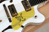 Guitare électrique de musique de Hanhai/jazz Semi-Creux blanc