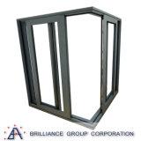 Elevador resistente e deslizamento da porta de vidro de alumínio de madeira