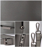 كاملة وسط موجز [شك] رماديّة حمل كتف حقيبة يد [بو] جلد ([بدمك103])