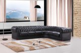 Sofà d'angolo moderno di Chesterfield con cuoio genuino per il sofà sezionale