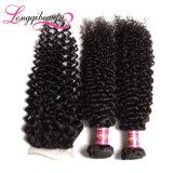 Fechamento brasileiro 4*4 do cabelo Curly do Virgin por atacado rápido do transporte 100%