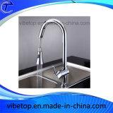 Robinet simple en gros de bassin de cuisine de traitement d'acier inoxydable (KF-01)