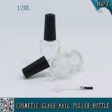 Botella de esmalte de uñas de vidrio transparente de diseño redondo con cepillo y tapa 12ml Botella de esmalte de uñas