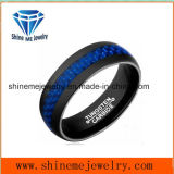 Ring van uitstekende kwaliteit van de Vinger van het Carbide van het Wolfram van de Vezel van de Koolstof van Juwelen de Blauwe